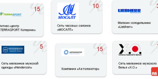 Список партнеров и магазинов Космо-карты
